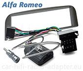 Alfa GT 2008-2010 Lenkrad Adapter + Radioblende dunkelsilber Einbauset