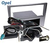 Opel Astra H Radioblende mit Fach silber + Adapter für Lenkradfernbedienung