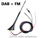 Active DAB FM antenna with amplifier for DAB radio connection