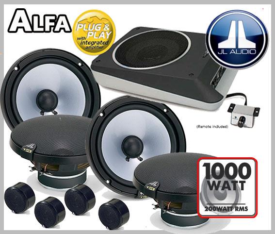 alfa romeo mito lautsprecher vorne und hinten mit bass und fernbedienung car hifi radio. Black Bedroom Furniture Sets. Home Design Ideas